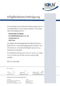 Zertifikat der Qualitätsgemeinschaft für berufliche Bildung