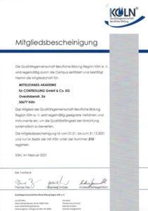 Mitgliedsbescheinungung in der Qualitätsgemeinschaft berufliche Bildung Region Köln e.V. Datum Februar 2021